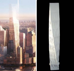 "Thomas Shine ARC '00 claims in a suit that a design made by David Childs '63 ARC '67's firm for the Freedom Tower at the World Trade Center site (left) is a copy of the ""Olympic Tower"" design (right), which Shine created as a graduate student."
